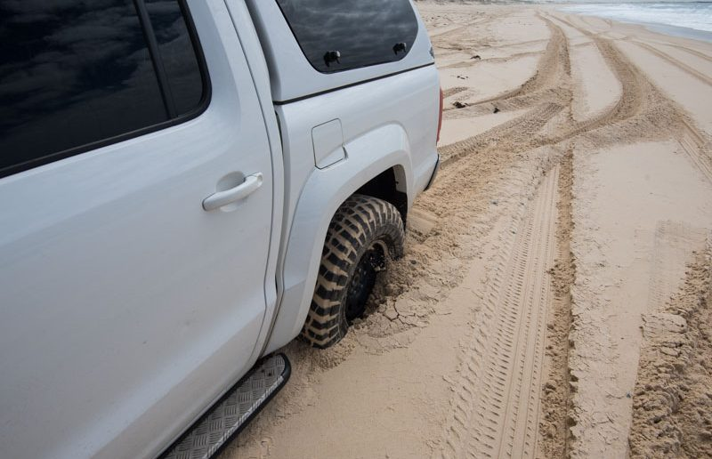bogged beach driving