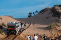 Towing caravan on sand