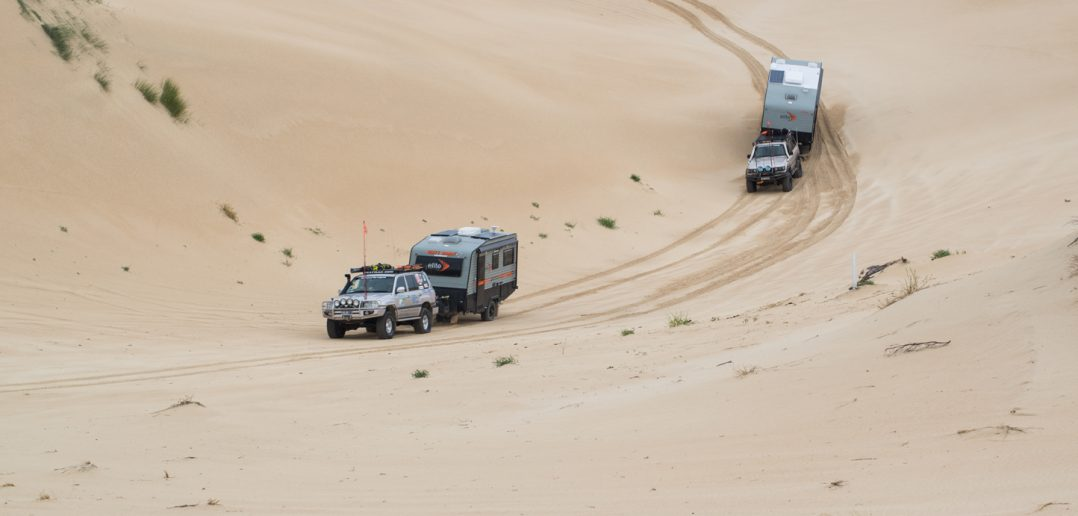 towing on sand beach